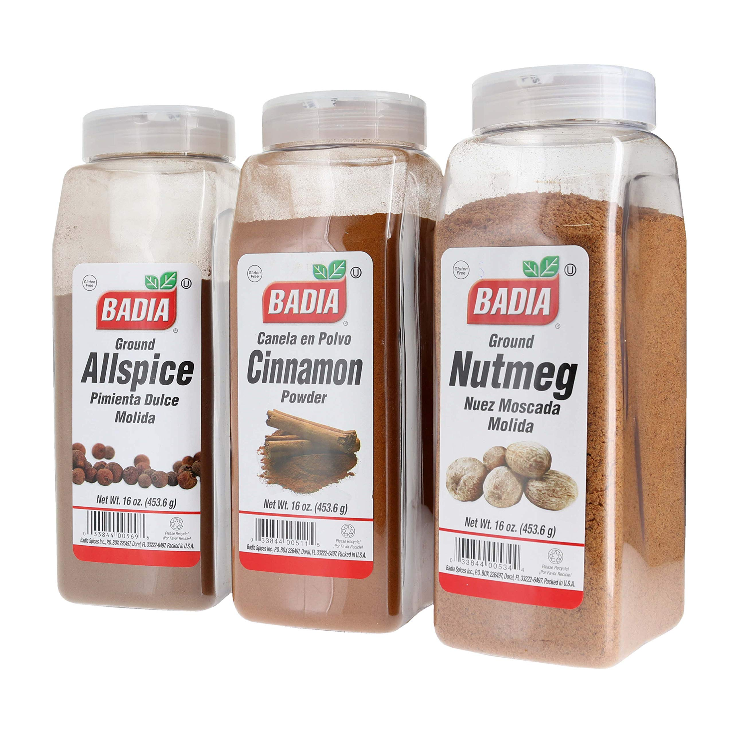 Badia Ground Allspice, Cinnamon Powder, and Ground Nutmeg Spice Bundle (Set of 3)