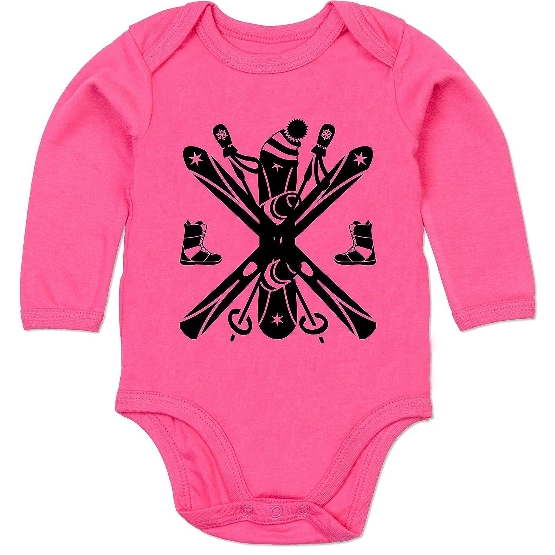 Sport Baby - Ski Snowboard Wintersport - Baby Strampler aus organischer Baumwolle für Mädchen und Jungen