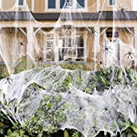 1400 sqft Halloween Spider Webs Decorations with 150 Extra Fake Spiders, Super Stretchy Cobwebs for Halloween decor…