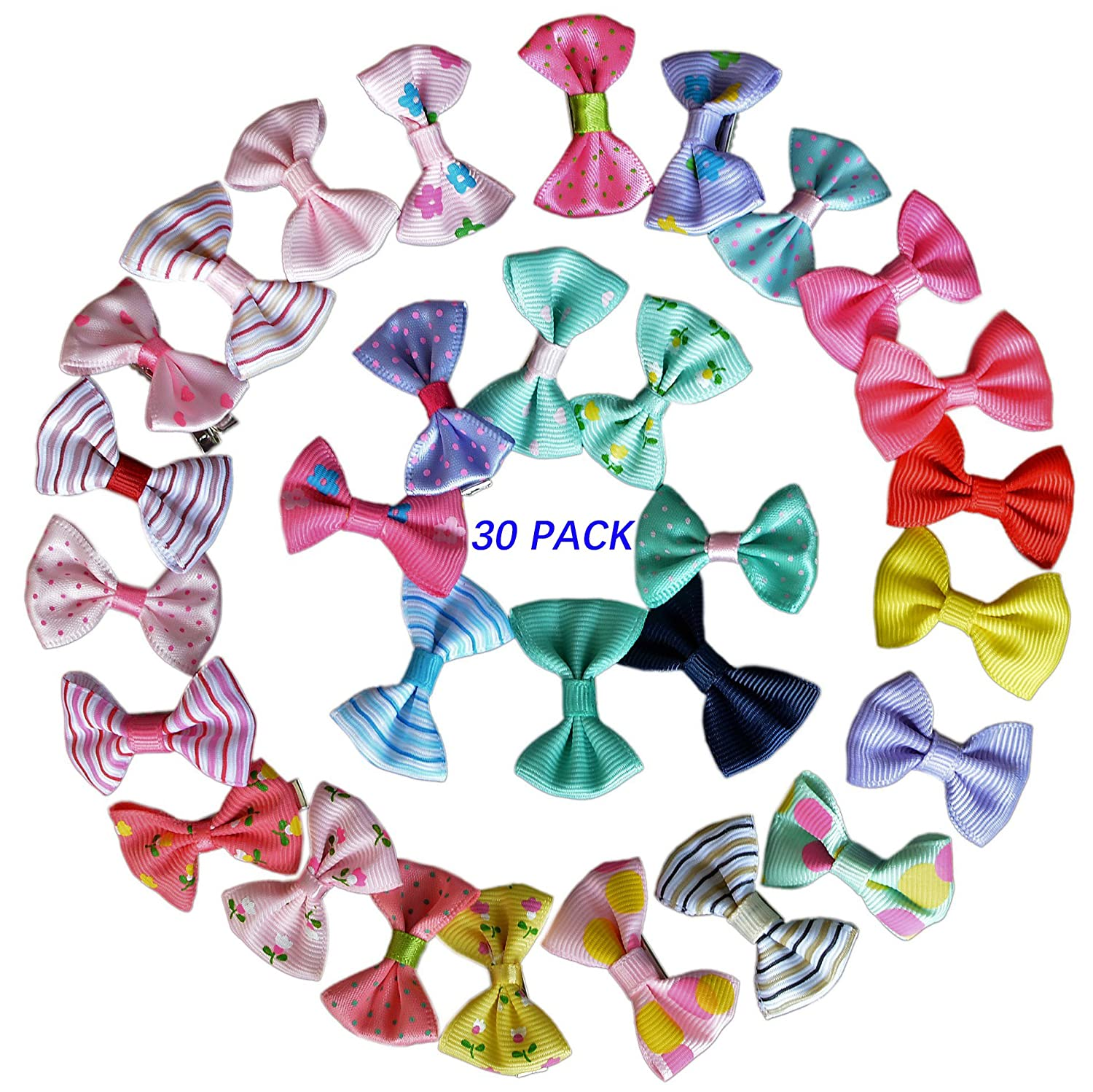 ZaoProteks ZP1201 30 Pcs Boutique Grosgrain Ribbon Hair Bow, Hair Clip for Girls ZhaoPin