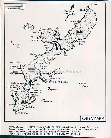 1945 Photo WW2 Era Okinawa Military Map Yanks Army Corps Machinato Marines  Sea