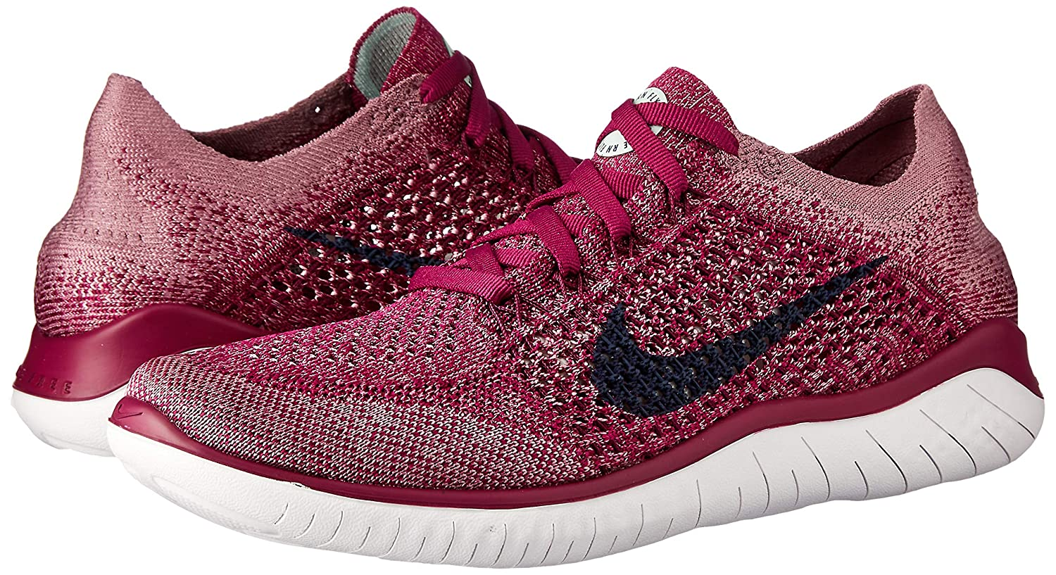 new style 2ab34 69d48 Nike Free RN Flyknit 2018 Women's Running Shoe Raspberry RED/Blue  Void-White-Teal Tint 10.0