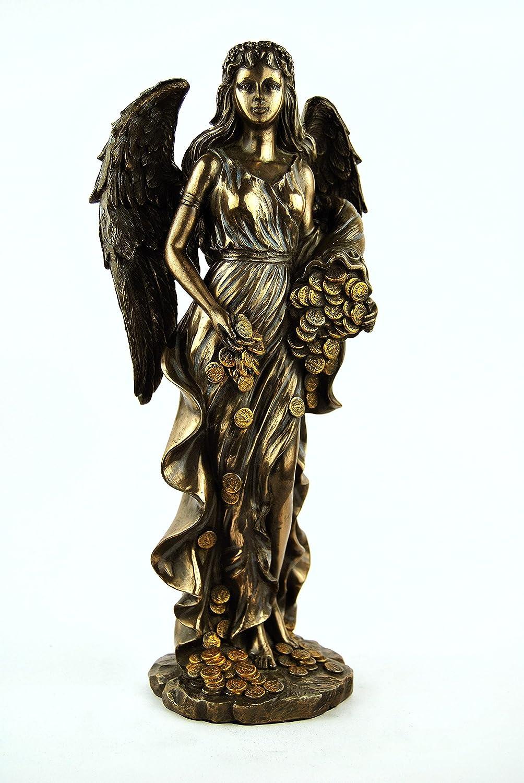 Bronze-figur Fortuna. Römische Göttin. Göttin des Glücks.