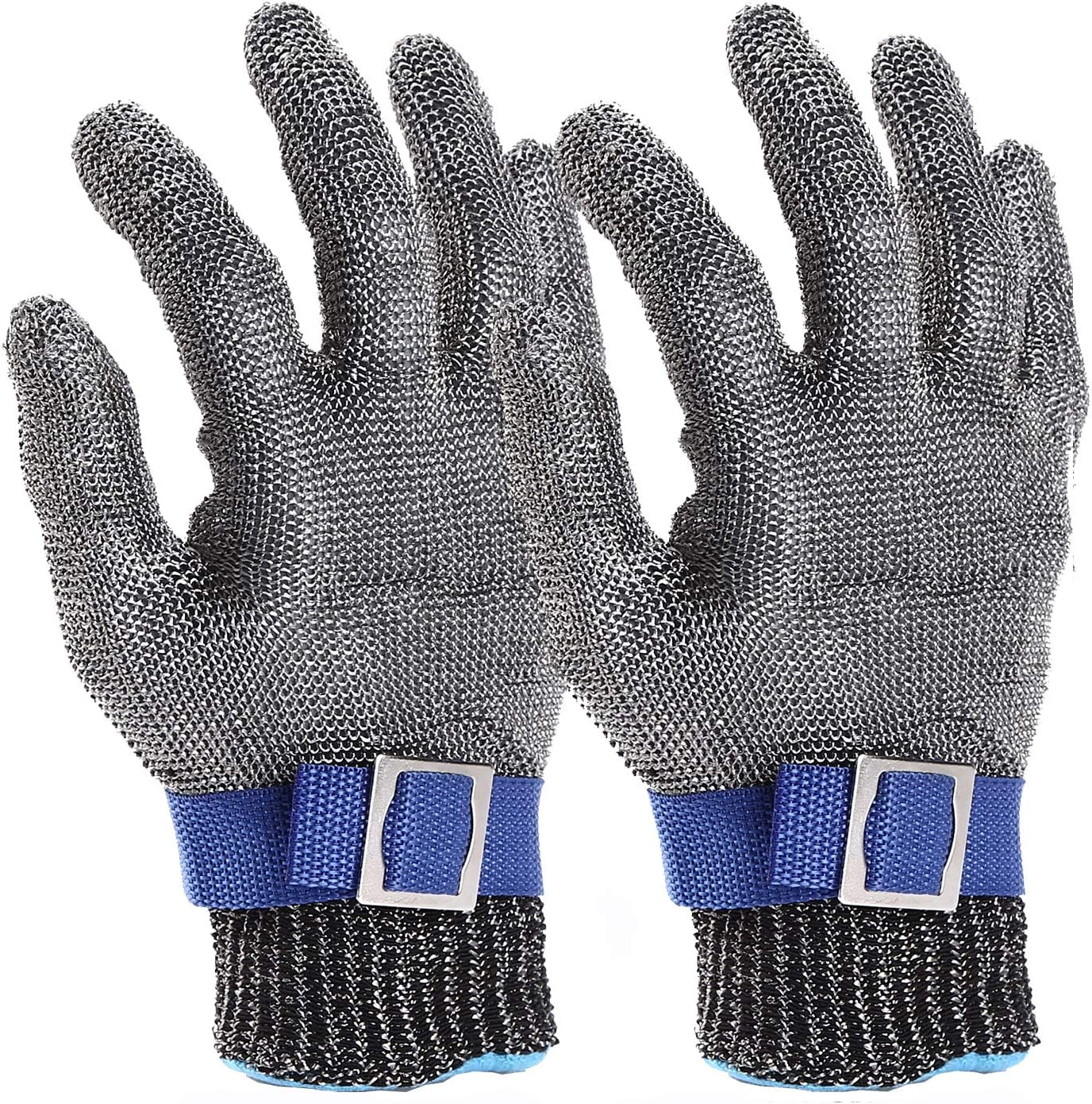 Cut Resistant Gloves-Stainless Steel Wire Metal Mesh Butcher Safety Work Gloves for Meat Cutting, fishing (L 2PCS)