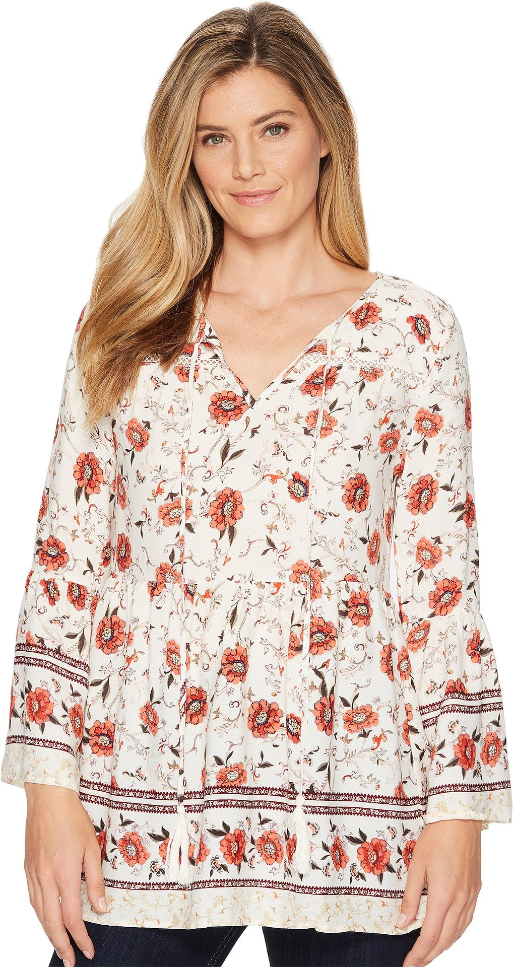 Miss Me Women's Floral V-Neck Bell Sleeve Tunic Cream White Medium