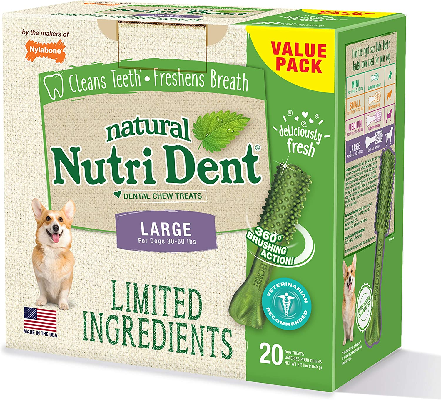 Nutri Dent Limited Ingredient Dental Dog Chews Large Size Filet Mignon or Fresh Breath Flavors