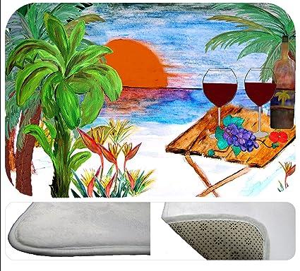 Amazon.com: Beach Wine Coastal Kitchen or Bath Mat From Art ...