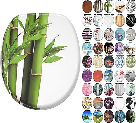 Finition de haute qualit/é Abattant WC Bambou Vert Charni/ères robustes Fixation facile