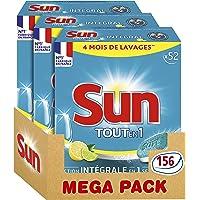 Sun Tablettes Lave-Vaisselle Tout-En-1 Citron 156 Lavages (Lot de 3x52 Lavages)