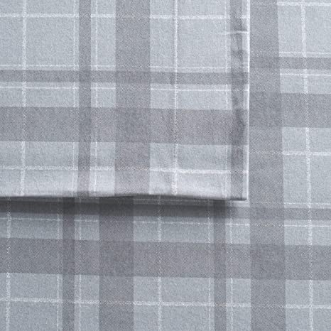 Cuddl Duds Queen Size Flannel Sheet Set (Gray Plaid Harley