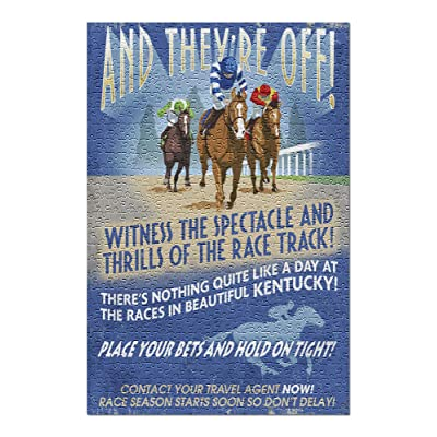 Kentucky - Horse Racing Vintage Sign (Premium 500 Piece Jigsaw Puzzle for Adults, 13x19, Made in USA!): Toys & Games