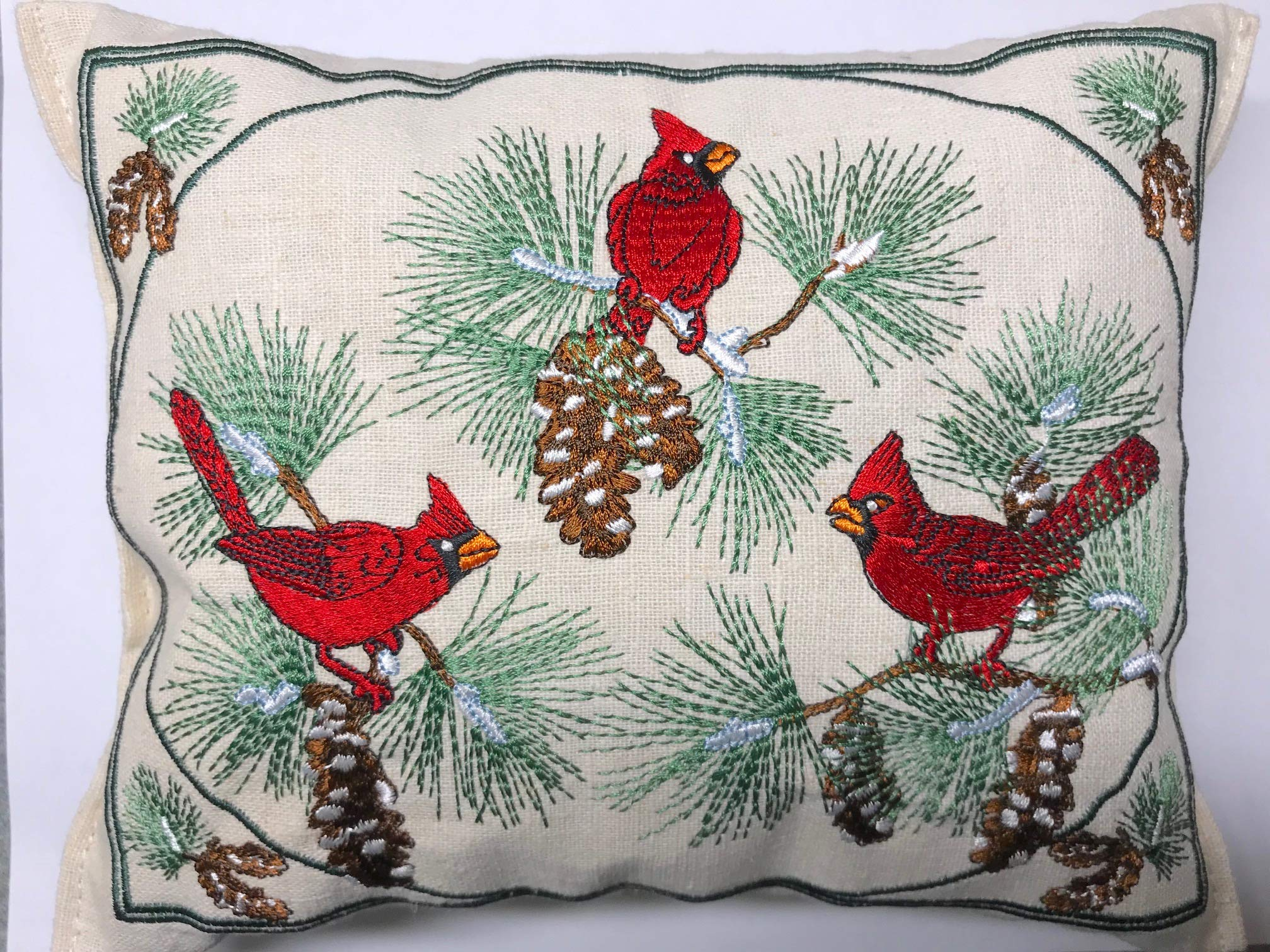 Paine's Balsam Fir Pillow 6''x9'' Embroidered Sampler Cardinals Pine Cones Birds by Paine's