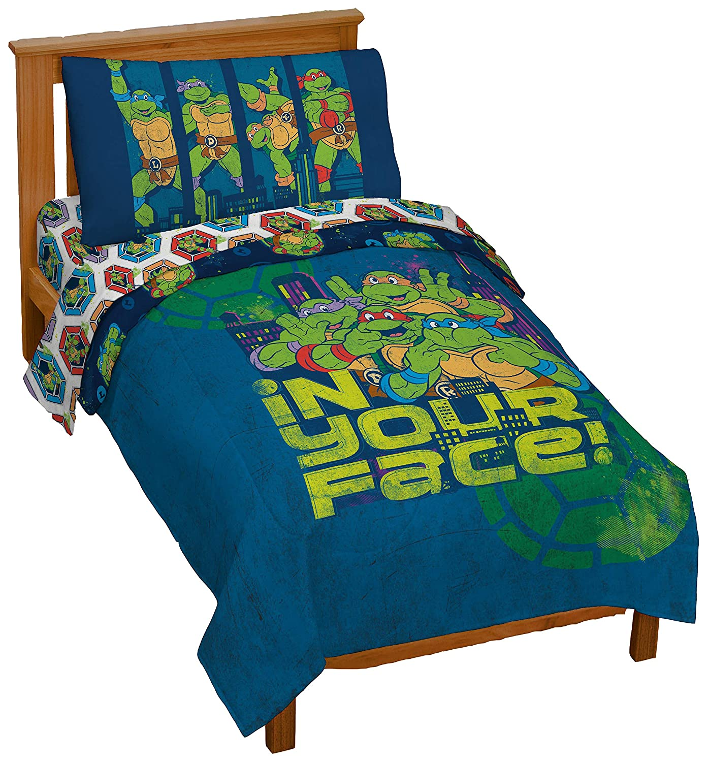Jay Franco Nickelodeon Teenage Mutant Ninja Turtles in Your Face 4 Piece Toddler Bed Set – Super Soft Microfiber Bed Set Includes Toddler Size Comforter & Sheet Set (Official Nickelodeon Product)
