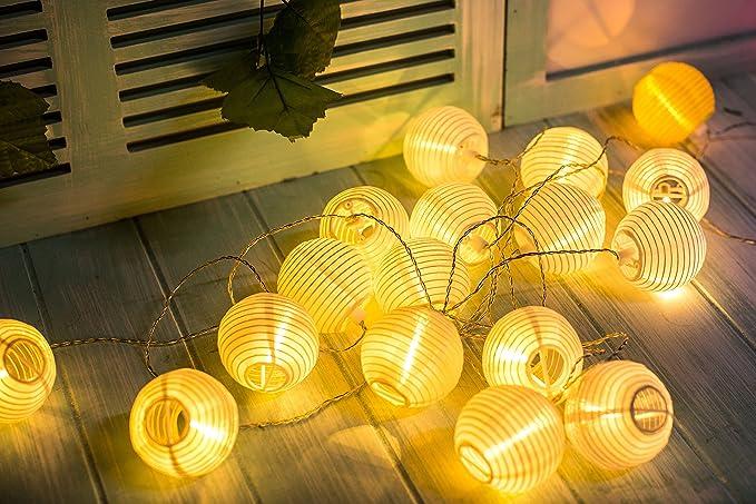 Gresonic Cadena de luz con farolillos, 20 ledes, decoración para el jardín, la Navidad, fiestas, bodas, interior y exterior, con enchufe: Amazon.es: Iluminación