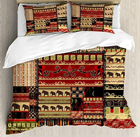 Juego de funda nórdica africana, patrón asiático estilo patchwork ...