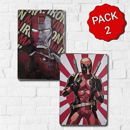 MARQUISE & LOREAN Placas Decorativas Pared Marvel Deadpool | Ironman | Thor | Decoración Carteles Vintage Metálicos MIRA (Pack Deadpool + Ironman, 20 x 30 cm): Amazon.es: Hogar