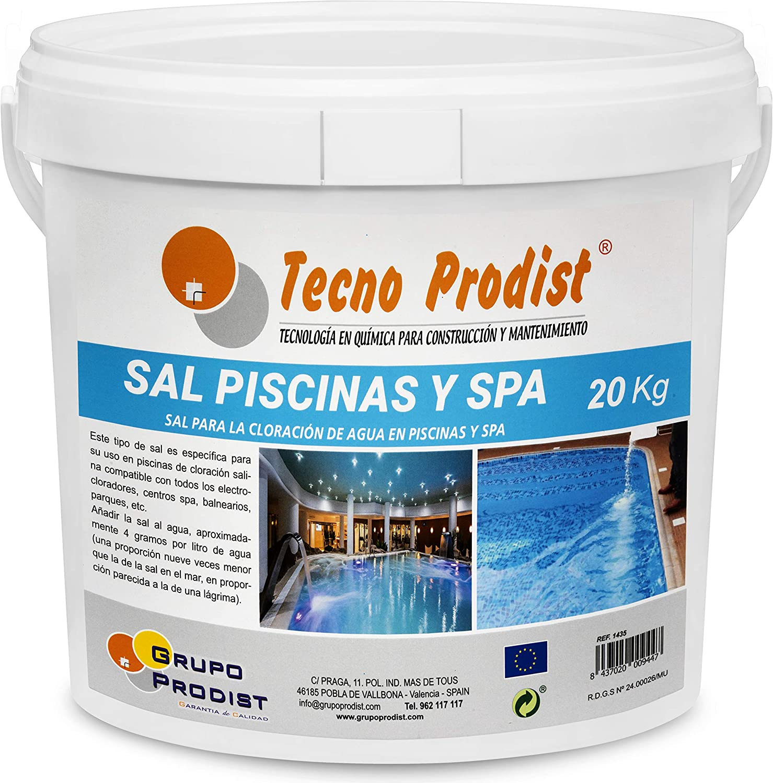 Tecno Prodist Sal Piscinas Sal Especial para la cloración Salina de Piscinas y SPA - En Cubo de 20 kg