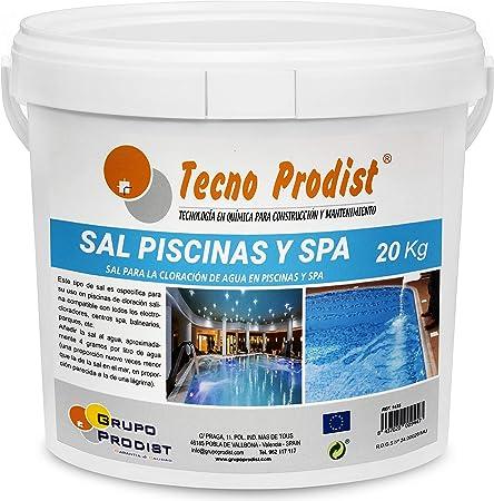 Tecno Prodist Sal Piscinas Sal Especial para la cloración Salina de Piscinas, SPA o Jacuzzis - En Cubo de 20 kg Fácil Aplicación