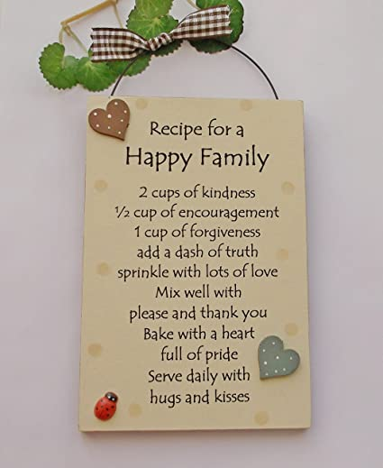 Recipe For A Happy Family Wooden Gift Plaque Amazoncouk Kitchen