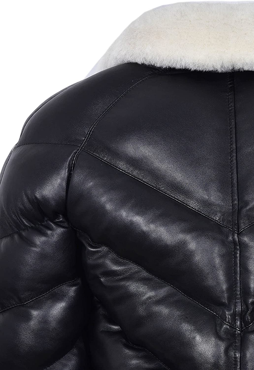 ACE Mens Puffer Real Leather Jacket Black with White Real Sheep Hair On Collar Winter Warm