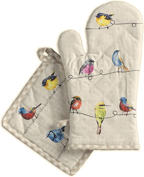 Maison d' Hermine Birdies on Wire 100% Cotton Set of Oven Mitt (7.5 Inch by 13 Inch) and Pot Holder (8 Inch by 8 Inch)