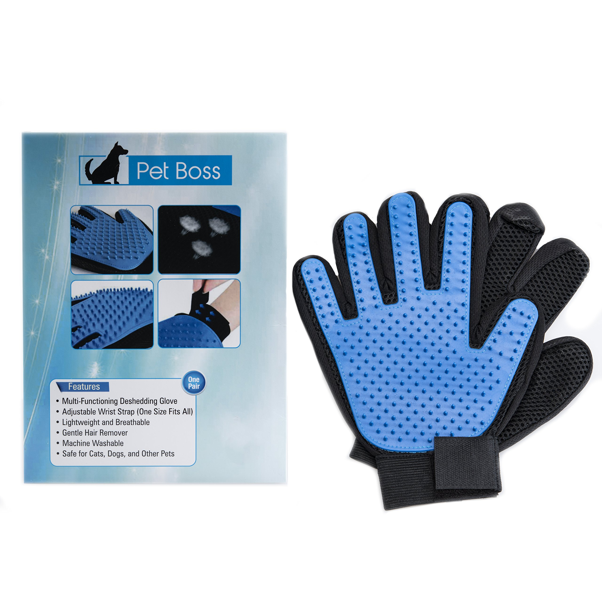 Pet Grooming Glove - Gentle Deshedding Brush Glove - Efficient Pet Hair Remover Mitt - Massage Tool with Enhanced Five Finger Design - Perfect for Dogs & Cats with Long & Short Fur by Pet Boss Co (Image #6)
