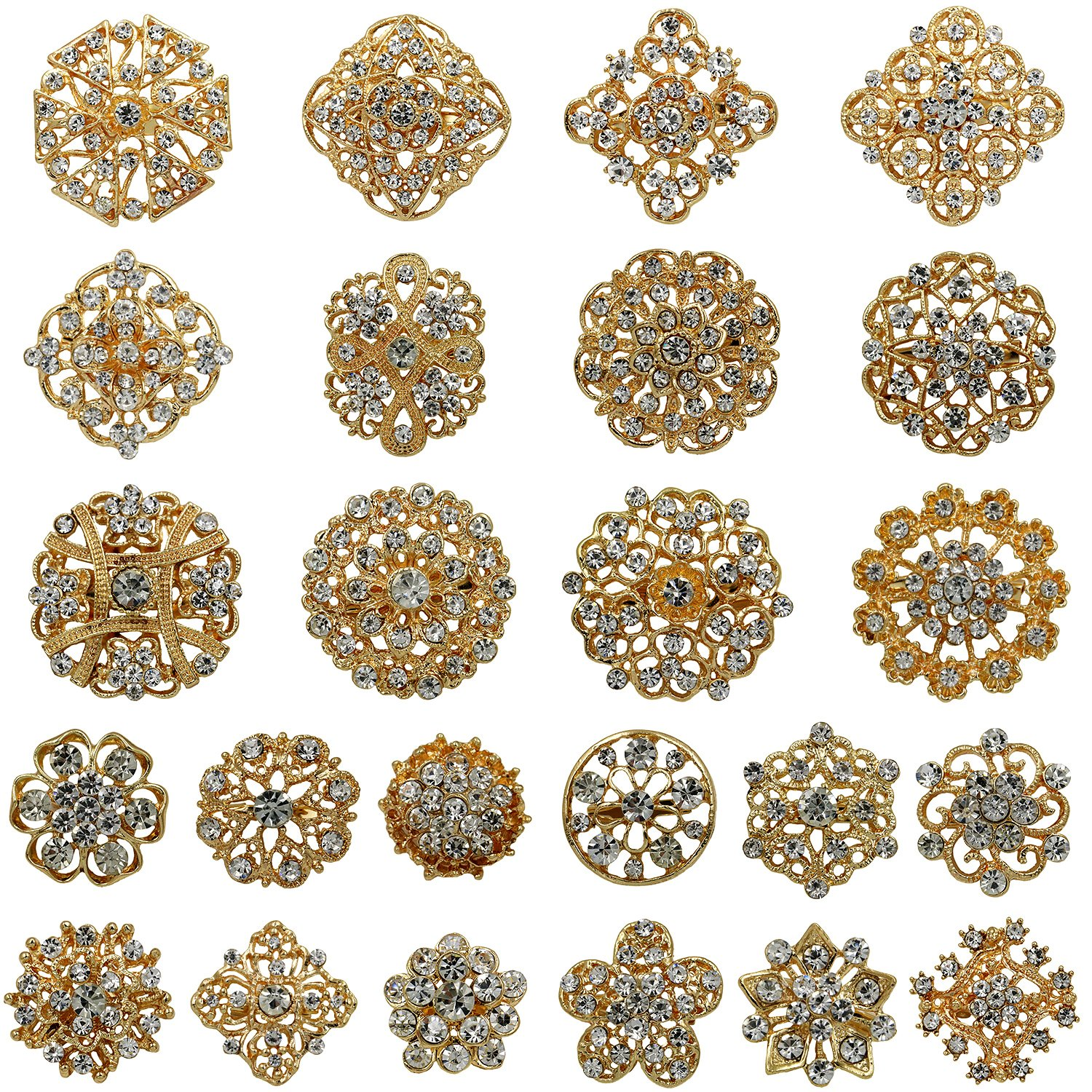 WeimanJewelry Lot 24pcs Rhinestone Crystal Brooch Pins Set Wedding Bouquet Broaches Kit (gold)