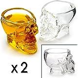 Ganzoo - Bicchieri da liquore, a forma di teschio, da 60 ml e con pareti in vetro spesse 4 mm, 2 pz