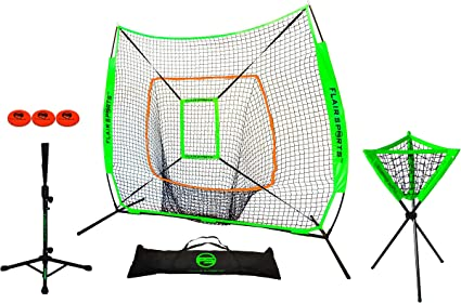Bonus Strike Zone Included Indoor /& Outdoor Training Net Heavy Duty Bow Frame Smartxchoices 7x7 Baseball /& Softball Net for Hitting /& Pitching
