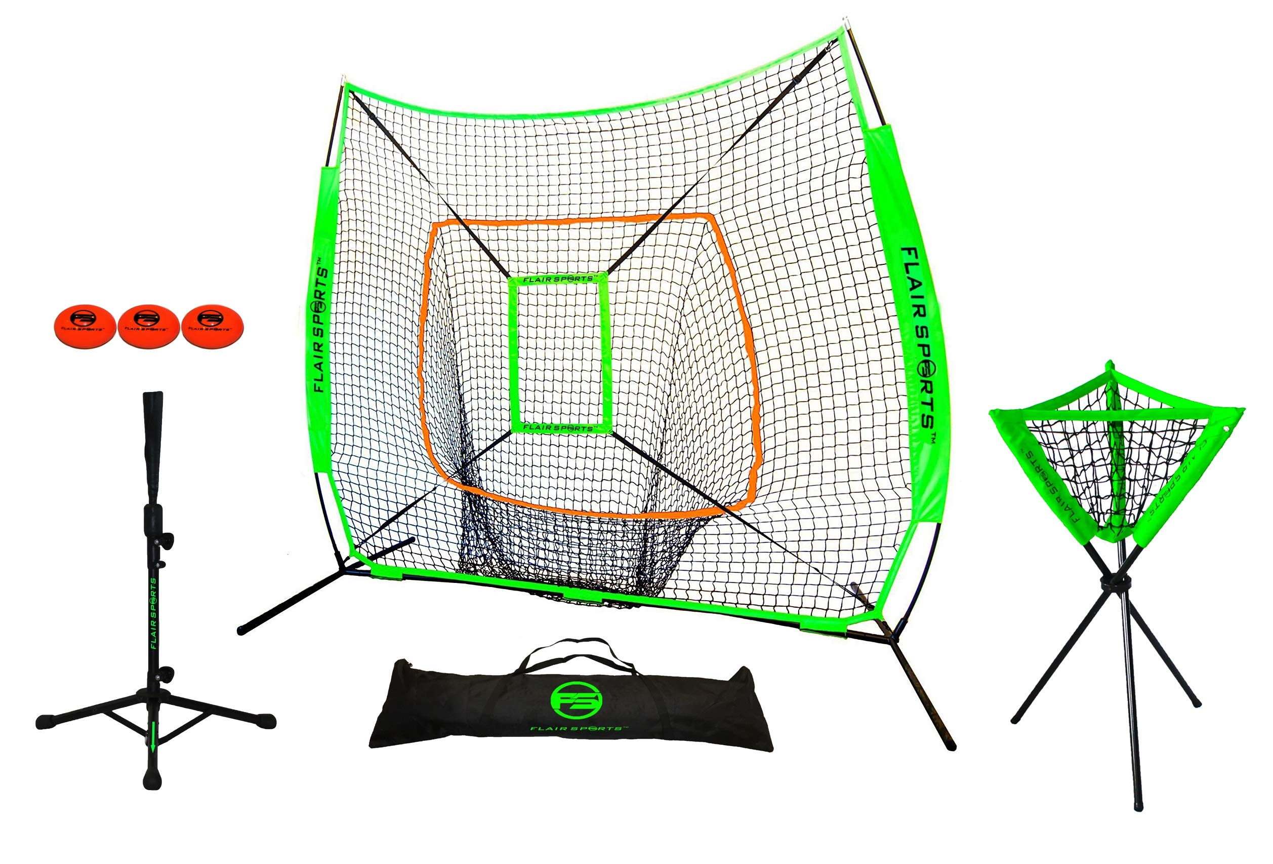 Flair Sports Baseball & Softball Net for Hitting & Pitching Heavy Duty 7x7 Pro Series | Indoor & Outdoor Training Net | Includes Strike Zone/Hitting Portable Tee / 3 Weighted Balls/Caddy by Flair Sports