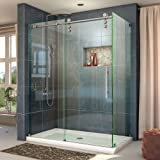 "DreamLine Enigma-Z 34 1/2 in. D x 44 3/8-48 3/8 in. W, Frameless Sliding Shower Enclosure, 3/8"" Glass, Brushed Stainless Steel Finish"