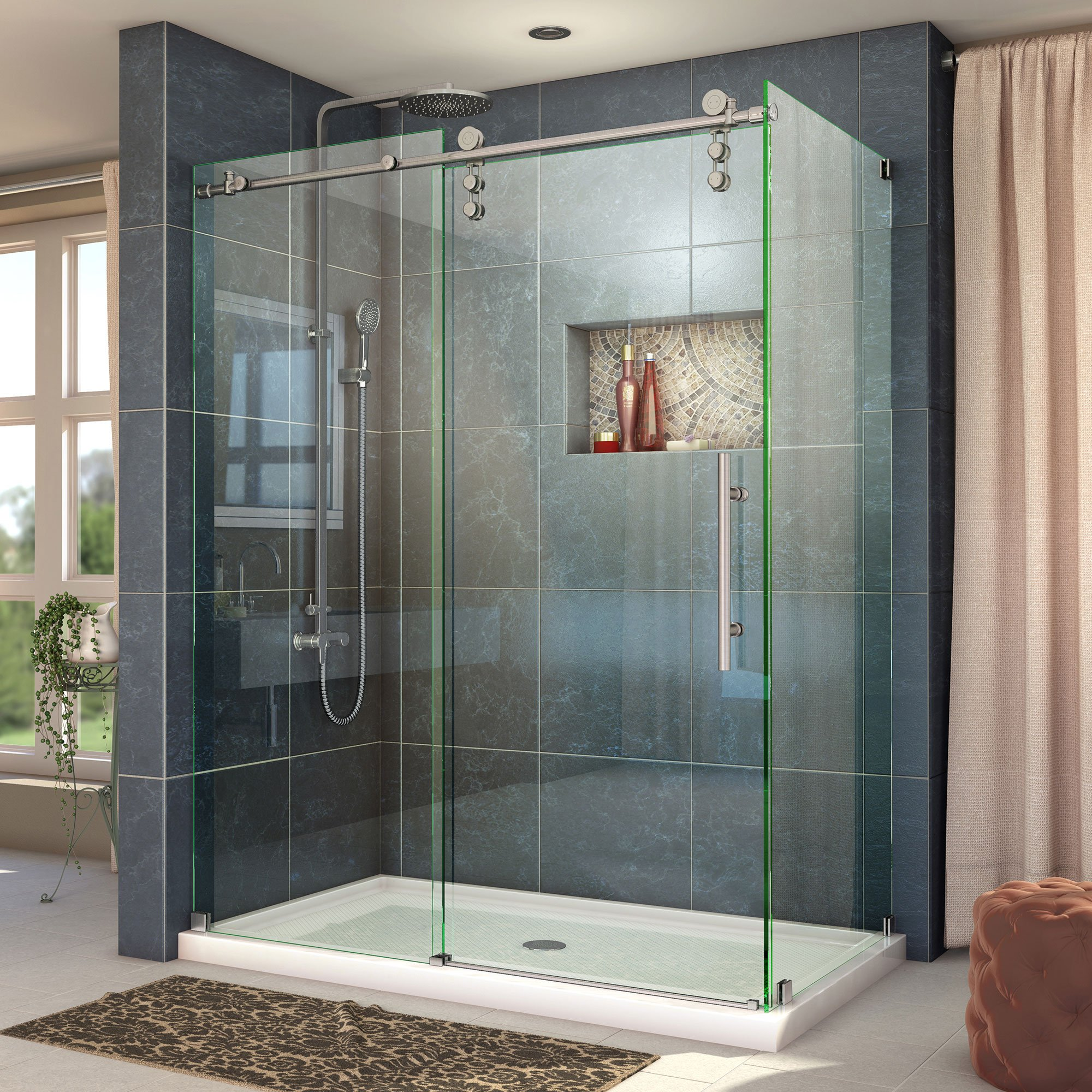 DreamLine Enigma-Z 34 1/2 in. D x 44 3/8-48 3/8 in. W, Frameless Sliding Shower Enclosure, 3/8'' Glass, Brushed Stainless Steel Finish