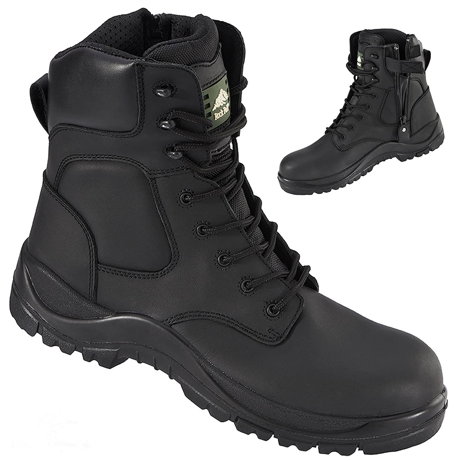 3fe799cd0b6 Rock Fall Melanite RF333 Waterproof Wide Fit Zip Up Non Metallic Safety  Boots