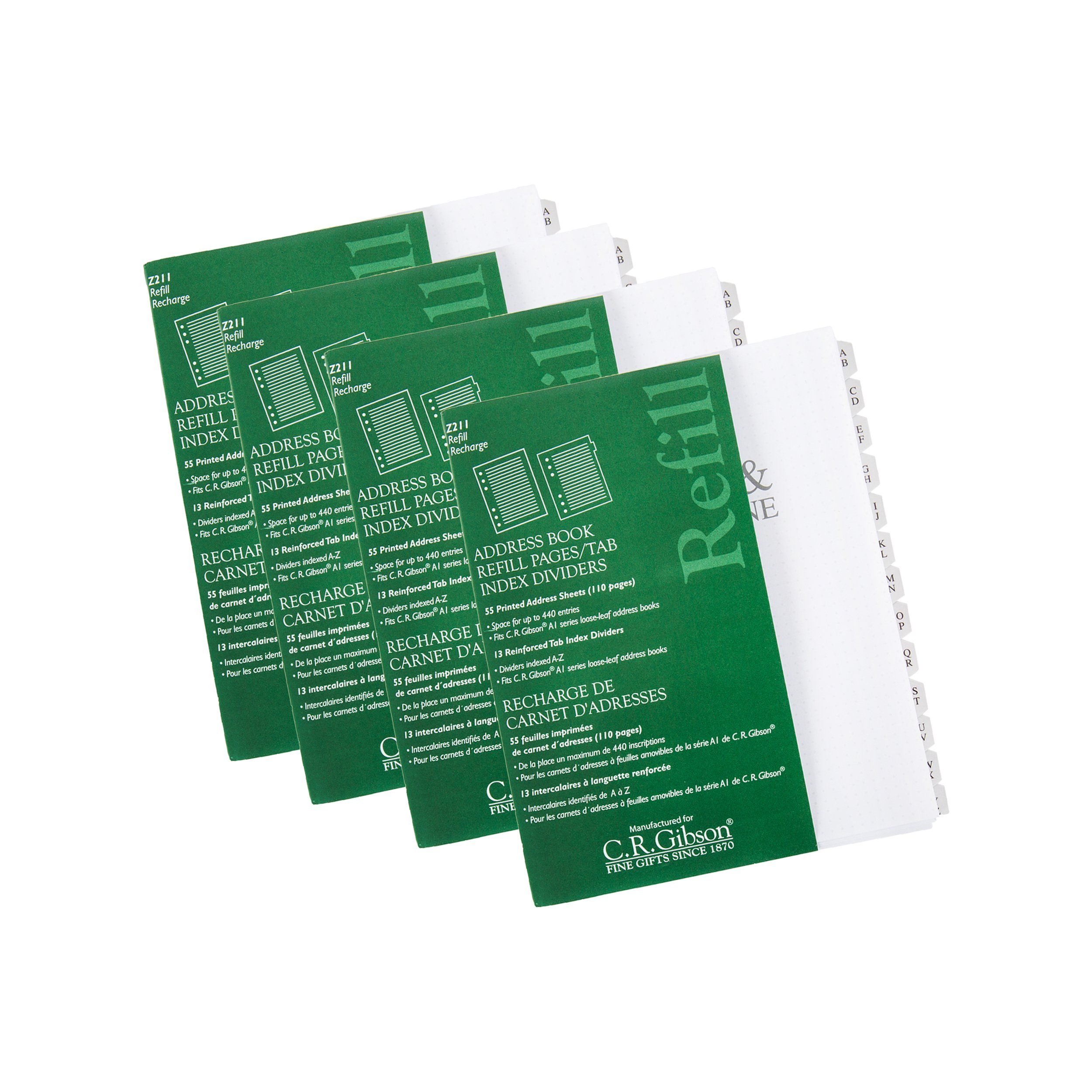 C. R. Gibson Address Book Refill Pages 4 Pack (220 Pages, 52 Tab Dividers)