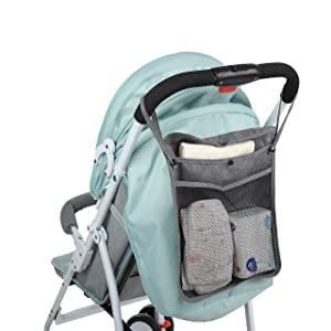 Stroller Organizer and Diaper Bag Organizer for Baby Stroller and Baby Travel (Accessories Holder, Baby Bottle Holder, Phone Holder, Baby Wipes, Food Storage and Coffee Cup Holder)
