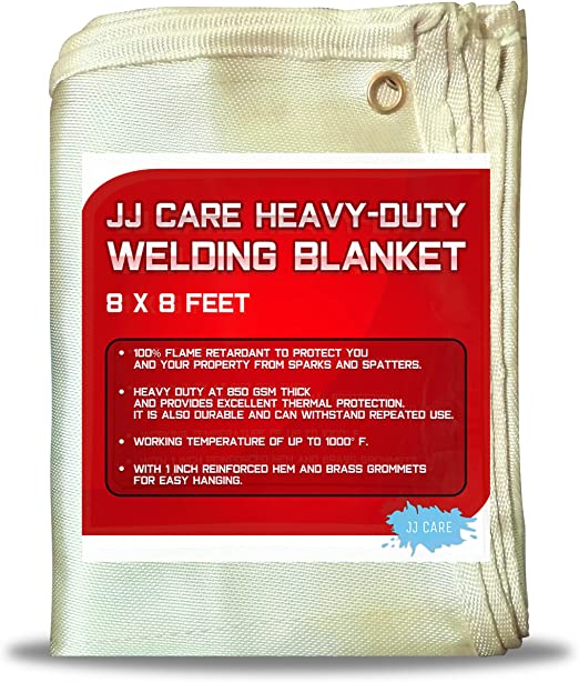 Amazon Com Jj Care Premium 8x8 Ft Heavy Duty Welding Blanket 850gsm Thick Fiberglass Fire Retardant Weld Curtain Safety Welding Shield Weld Blanket Home Kitchen
