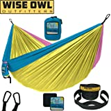 Wise Owl Outfitters Camping Hammock With Tree Straps Single & Double Portable Lightweight Heavy Duty Nylon Hammocks – Best Camp Gear for Outdoors, Beach, Hiking - Many Colors