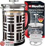Mueller SOHO French Press Coffee Maker (8 cups, 34 oz), 304 Stainless Steel Coffee Press with 4 Stage Filtration, Durable Easy Clean Heat Resistant Borosilicate Glass - 100% BPA Free