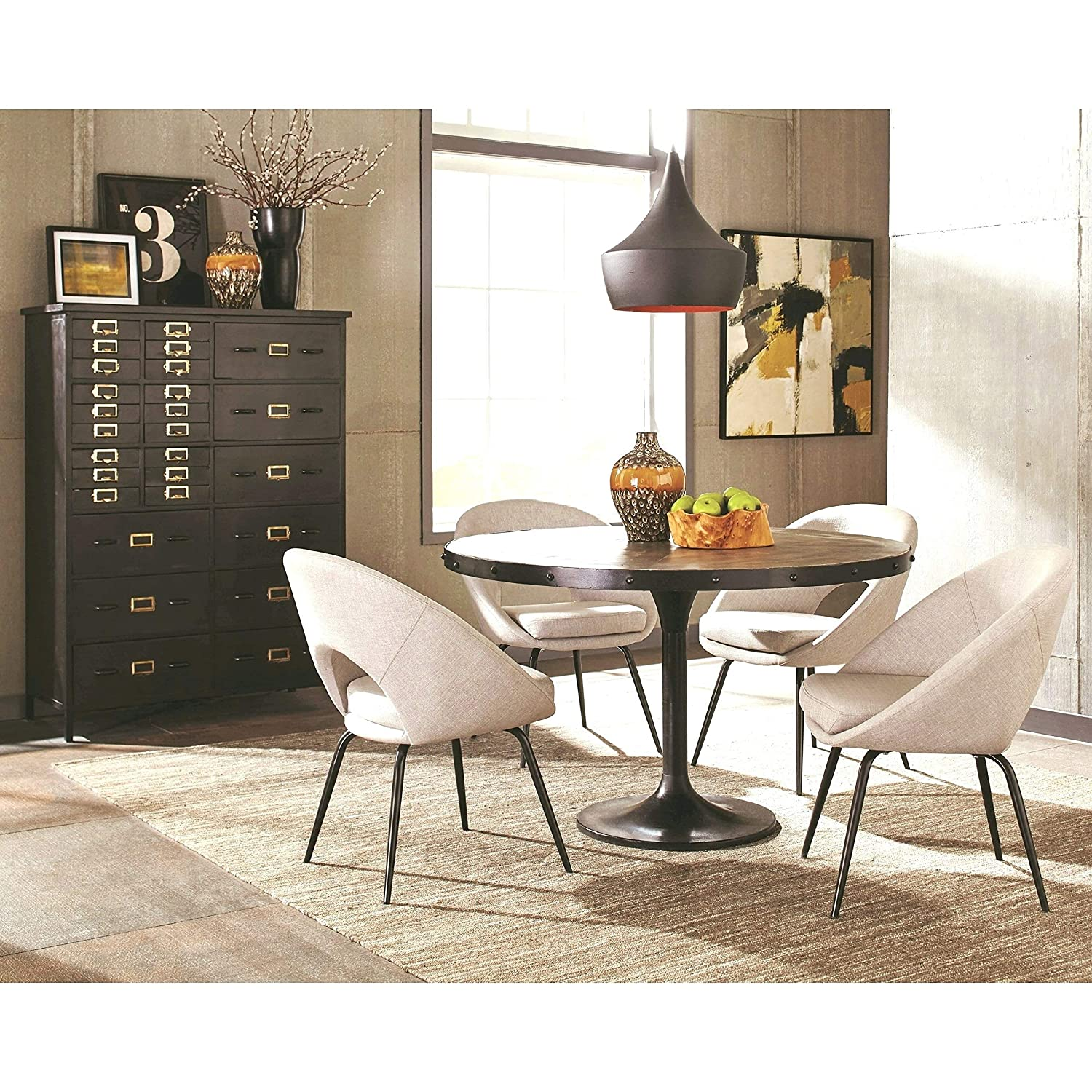 Charmant Amazon.com   A Line Furniture Vintage Inspired Antique Round Dining Set  With Storage Chest 1 Table, 4 Chairs, 1 Chest   Table U0026 Chair Sets