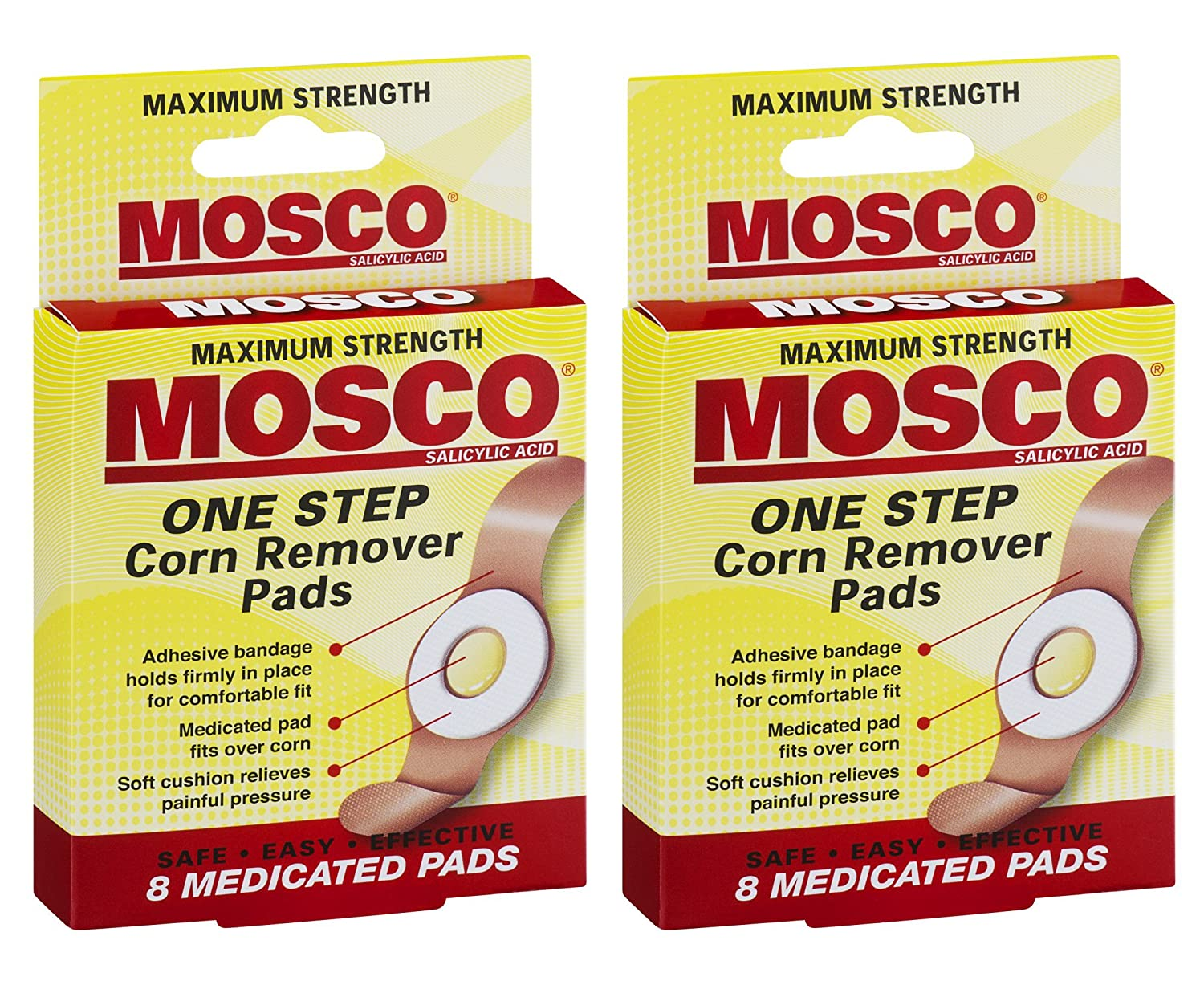 Mosco One Step Medicated Corn Remover Pads, Maximum Strength, 8-Count per Pack (2-Packs) : Beauty