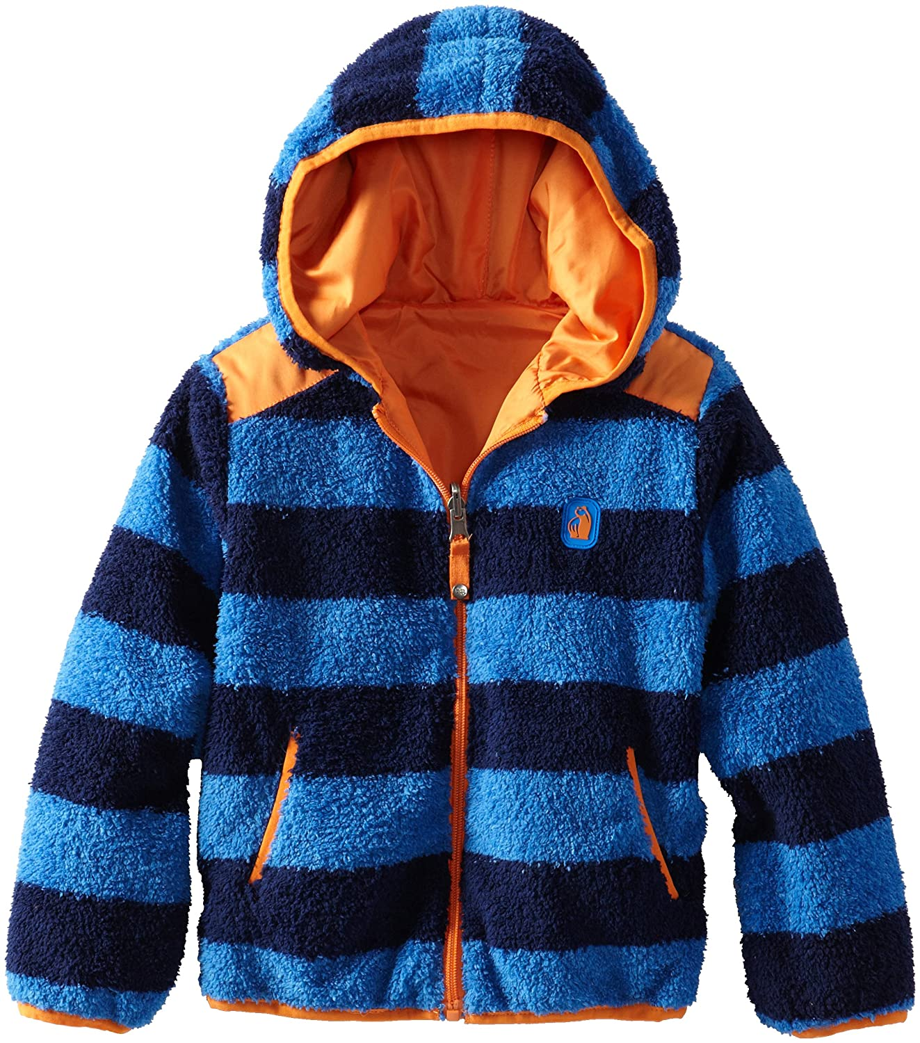 Rugged Bear Little Boys Striped Sherpa Reversible Fleece Jacket iXtreme RB81202