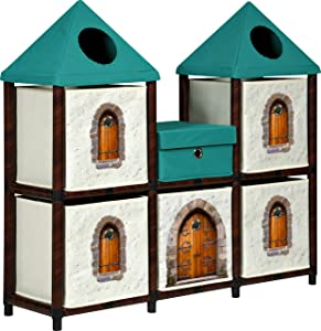 OneSpace 1 Recycled Paper Fantasy Fort Kids Storage Unit, Green and Brown