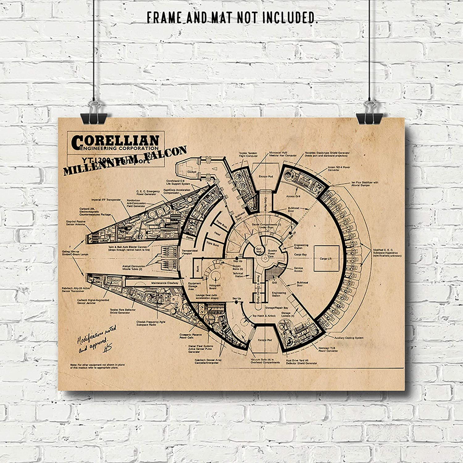 dfc6e6eb07c Original Star Wars Millenium Falcon Patent Art Poster Print - Set of 1 (One  11x14) Unframed - Great Wall Art Decor Gift for Home