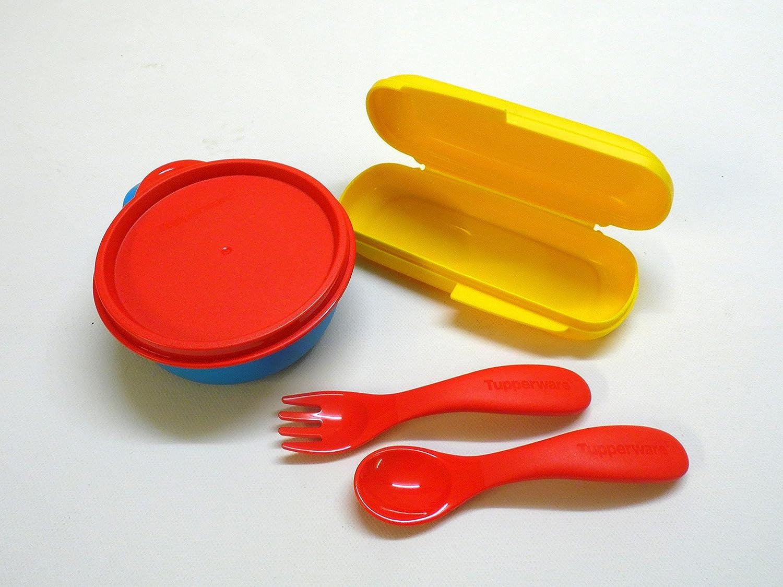 Tupperware Niños Cubiertos + Box Amarillo Rojo con Estuche Bebé Cubiertos + 1 taza con tapa, 240 ml: Amazon.es: Hogar