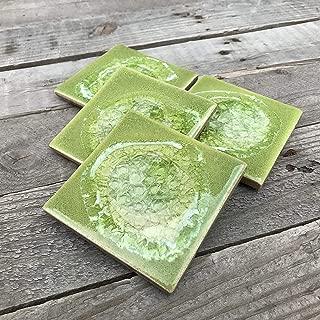 product image for Geode Crackle Coaster Set of 4 in Leaf Gree, Geode Coaster, Crackle Coaster, Fused Glass Coaster, Crackle Glass Coaster, Agate Coaster, Ceramic Coaster, Dock 6 Pottery Coaster