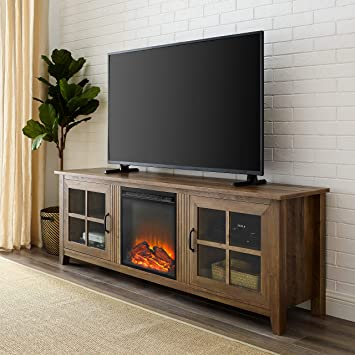 Amazon Com Walker Edison Furniture Company Modern Farmhouse Wood Fireplace Universal Stand With Cabinet Doors For Tv S Up To 80 Flat Screen Living Room Storage Entertainment Center 70 Inch Reclaimed Barnwood