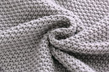 100/% Babydecke Baumwolle aus GOTS BIO Baumwolle grau mit d/ünner Bord/üre f/ür M/ädchen//Junge Strickdecke Baby Decke Baumwolldecke Strick Wolle Kinderwagen Kuscheldecke Erstlingsdecke Wolldecke