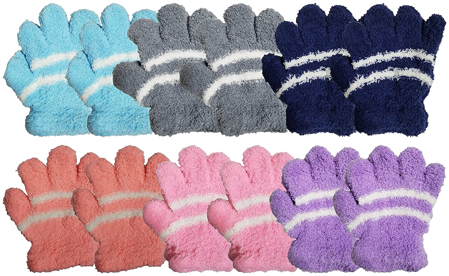 12 Pairs Soft Fuzzy Magic Gloves for Women or Girls, Chenille Winter Glove Fun Colorful Plush