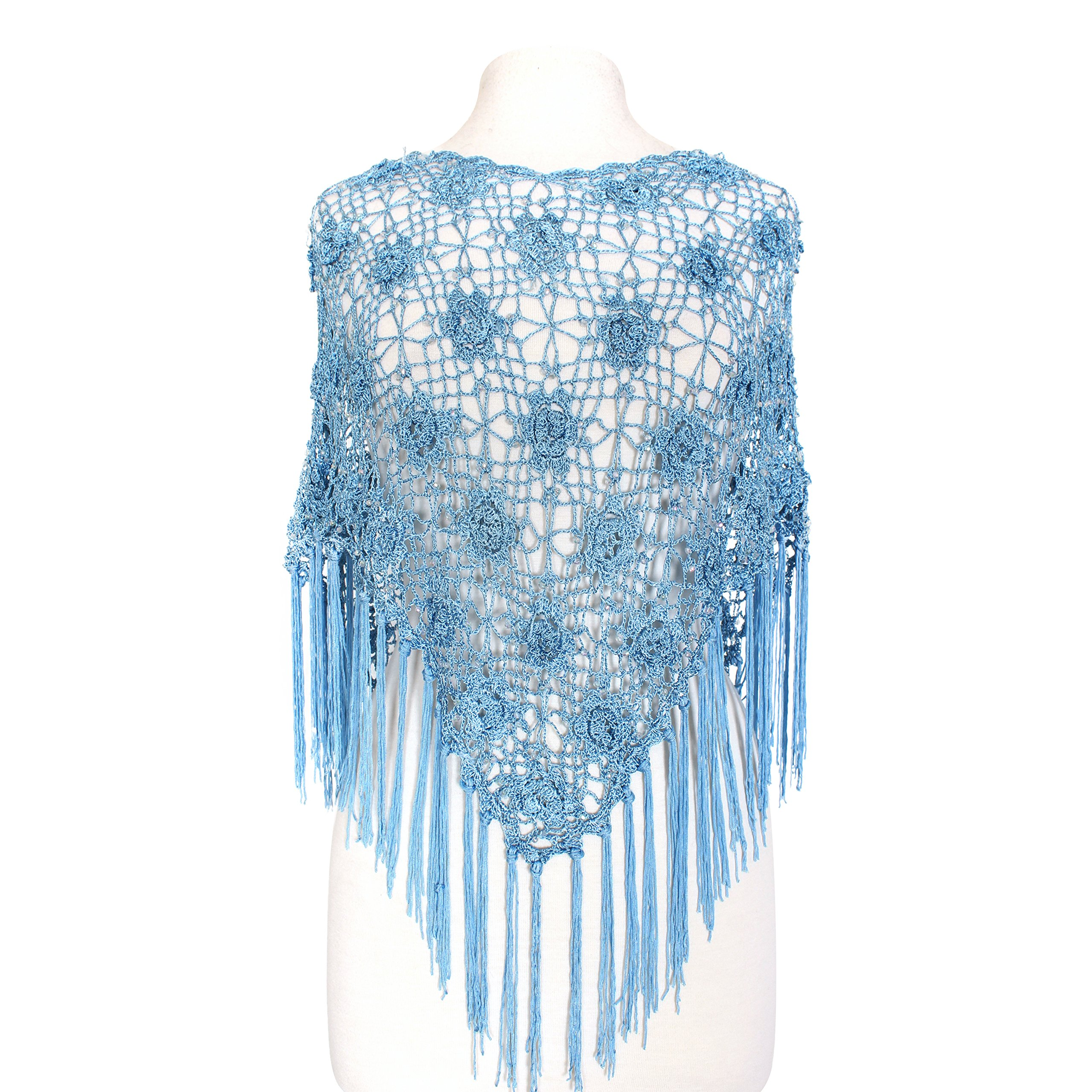 Feriamode 100% Handmade Flower Embroidered Net & Bead Poncho with Long Tassel (Light Blue)