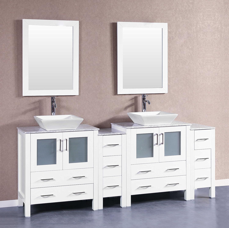 Bosconi Bathroom Vanities AW230SQCM2S Double Vanity With Mirrors ...